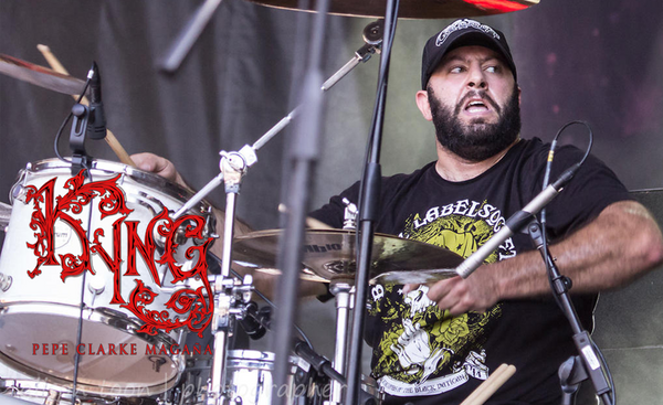Drummer Pepe Clarke performs live with the band KYNG at Aftershock 2014