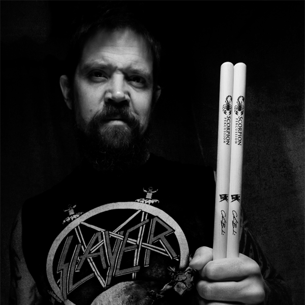 Swedish Drummer posing with Scorpion PErcussion drumsticks