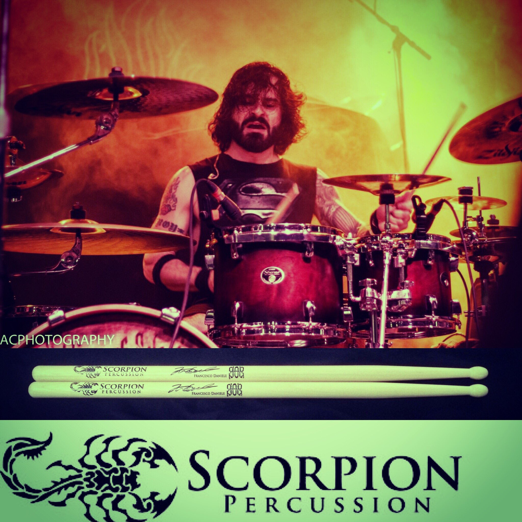 Drummer Francesco Daniele poses with Scorpion Percussion drumsticks behind his drumkit
