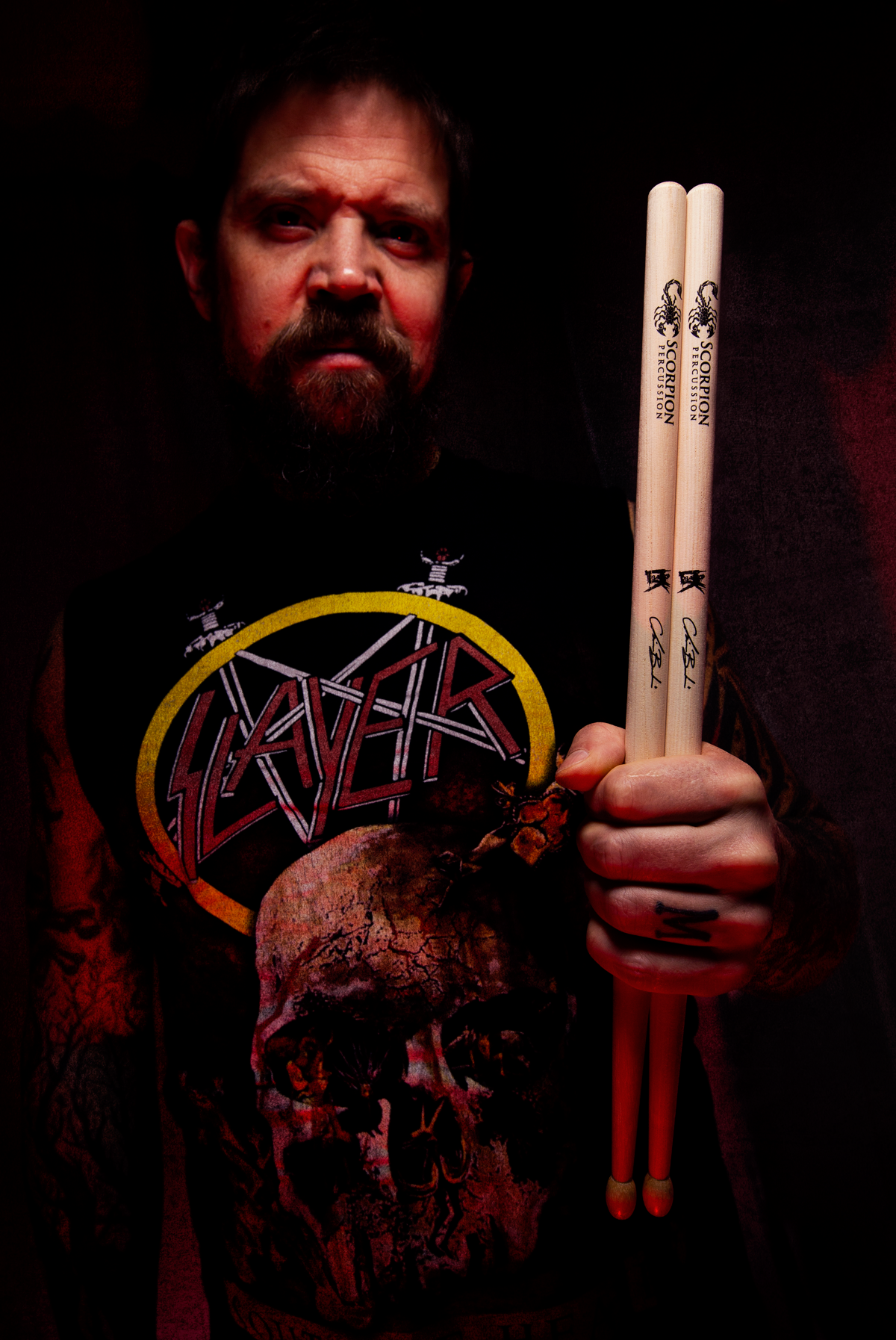Drummer Chris Barkensjö plays live on stag with his Immortal Series sticks