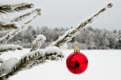 Loneliness at Christmas - Red Bauble on Tree in Snow