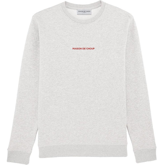 Maison de Choup Sweatshirt The Red Embroidered Logo Sweatshirt - Cream Heather Grey