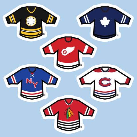 Original Six Mini-Jerseys Stickers