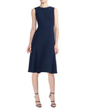 Midi Dress with Fluted Hem - Navy