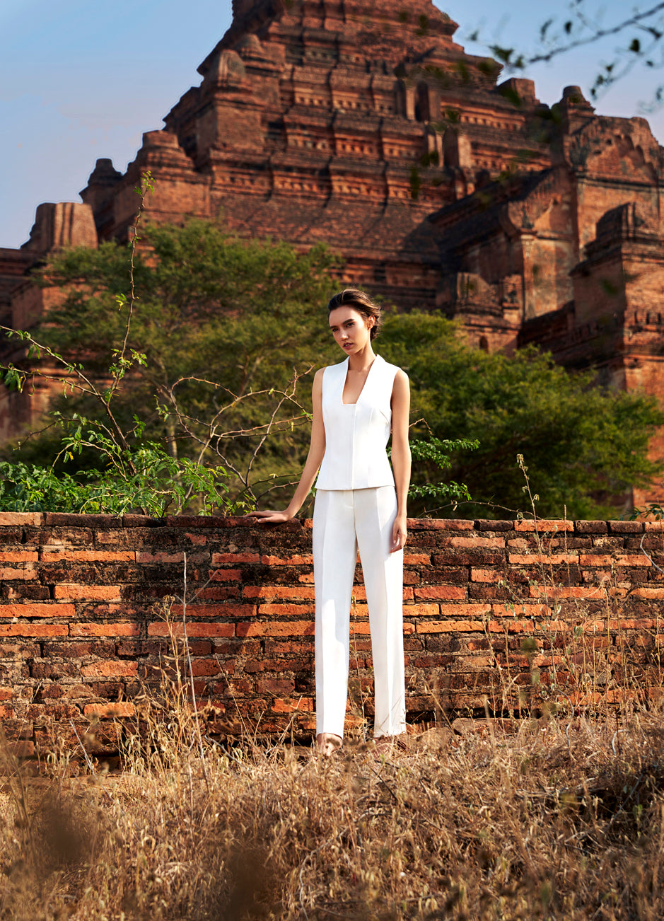 Aris structured white vest top & high waist tux work trousers