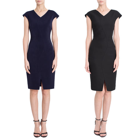 Navy & Black capsleeve professional office women's work dress