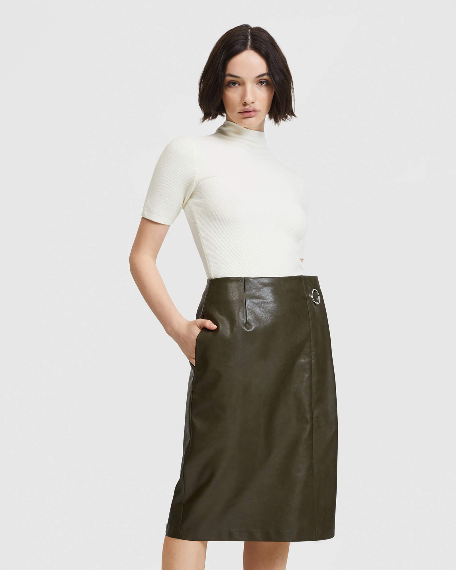 Vegan Leather Pencil Skirt - Khaki