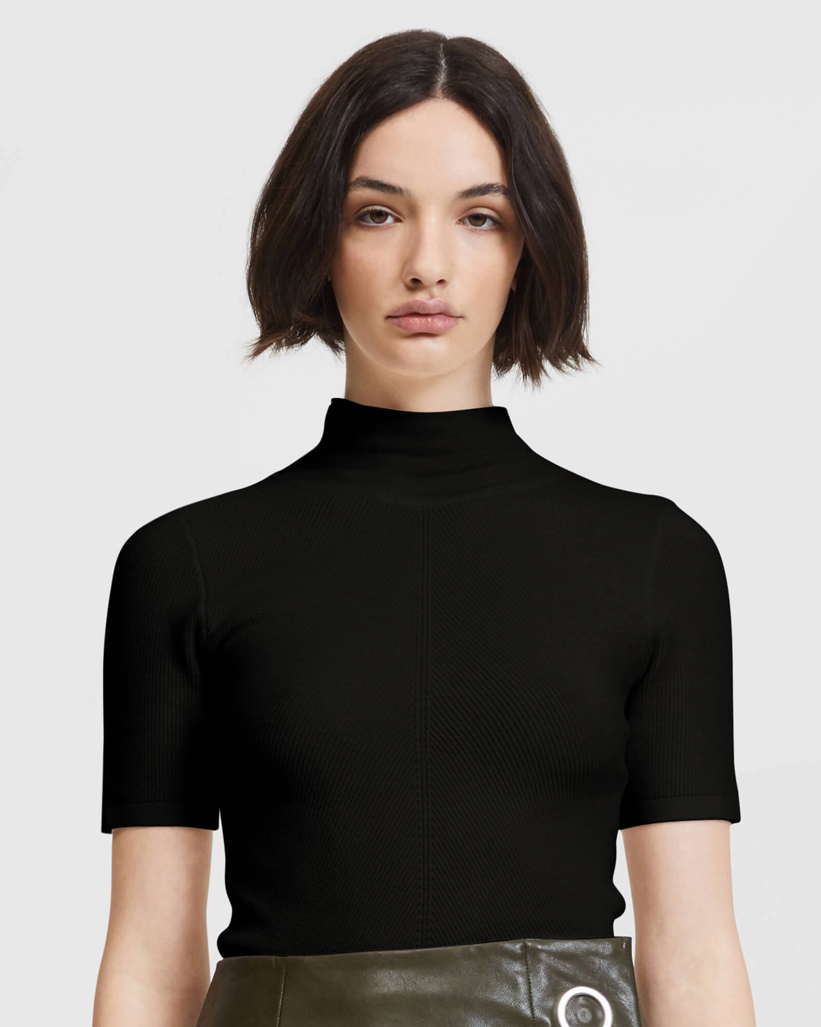Midsleeve High Neck Top