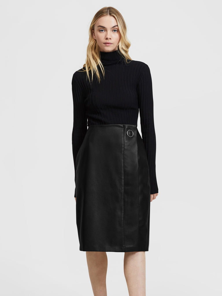 Vegan Leather Pencil Skirt - Black
