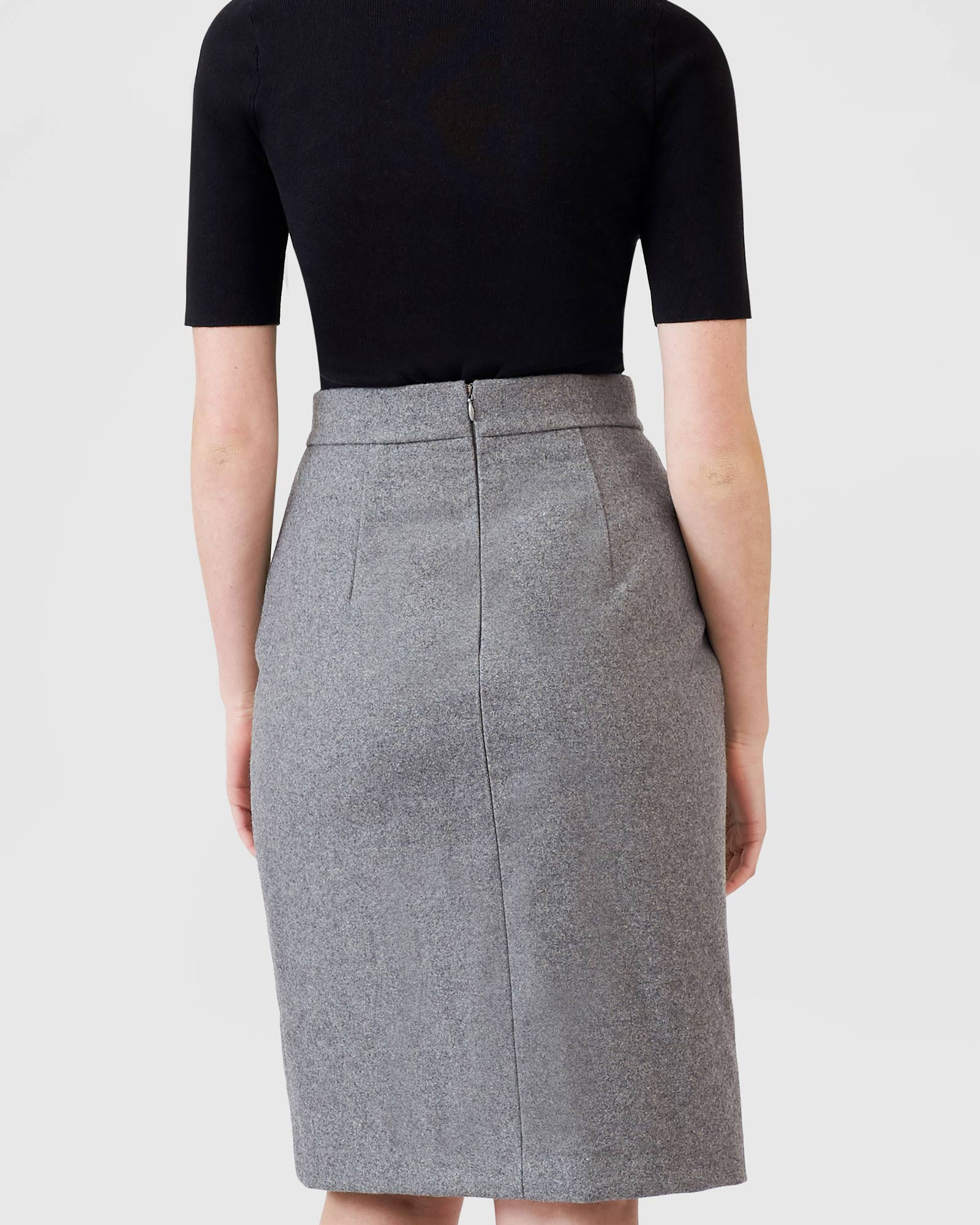 Wool Crossover Skirt - Grey