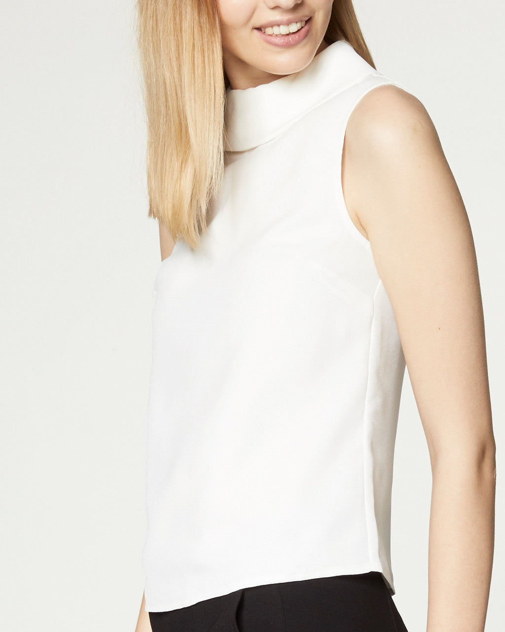 Boatneck Collar Top - White