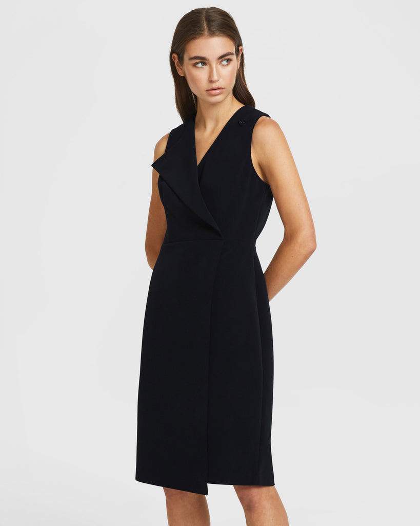 Folded Lapel Dress - Black