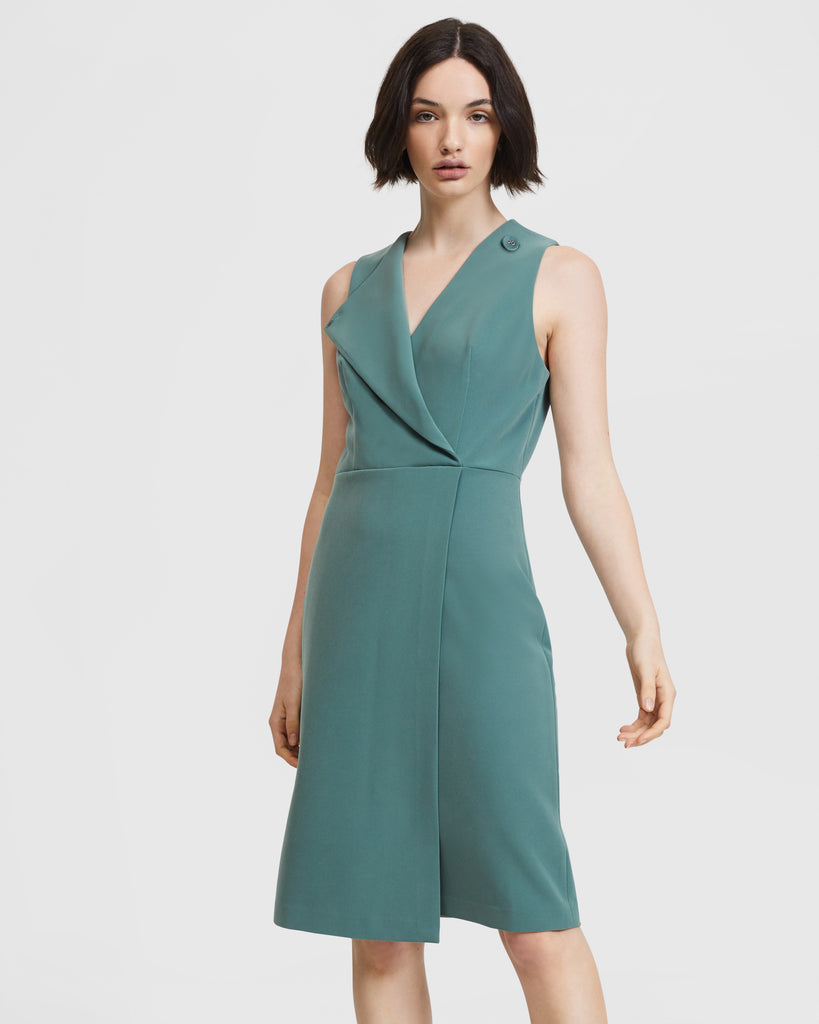 Folded Lapel Dress - Sage