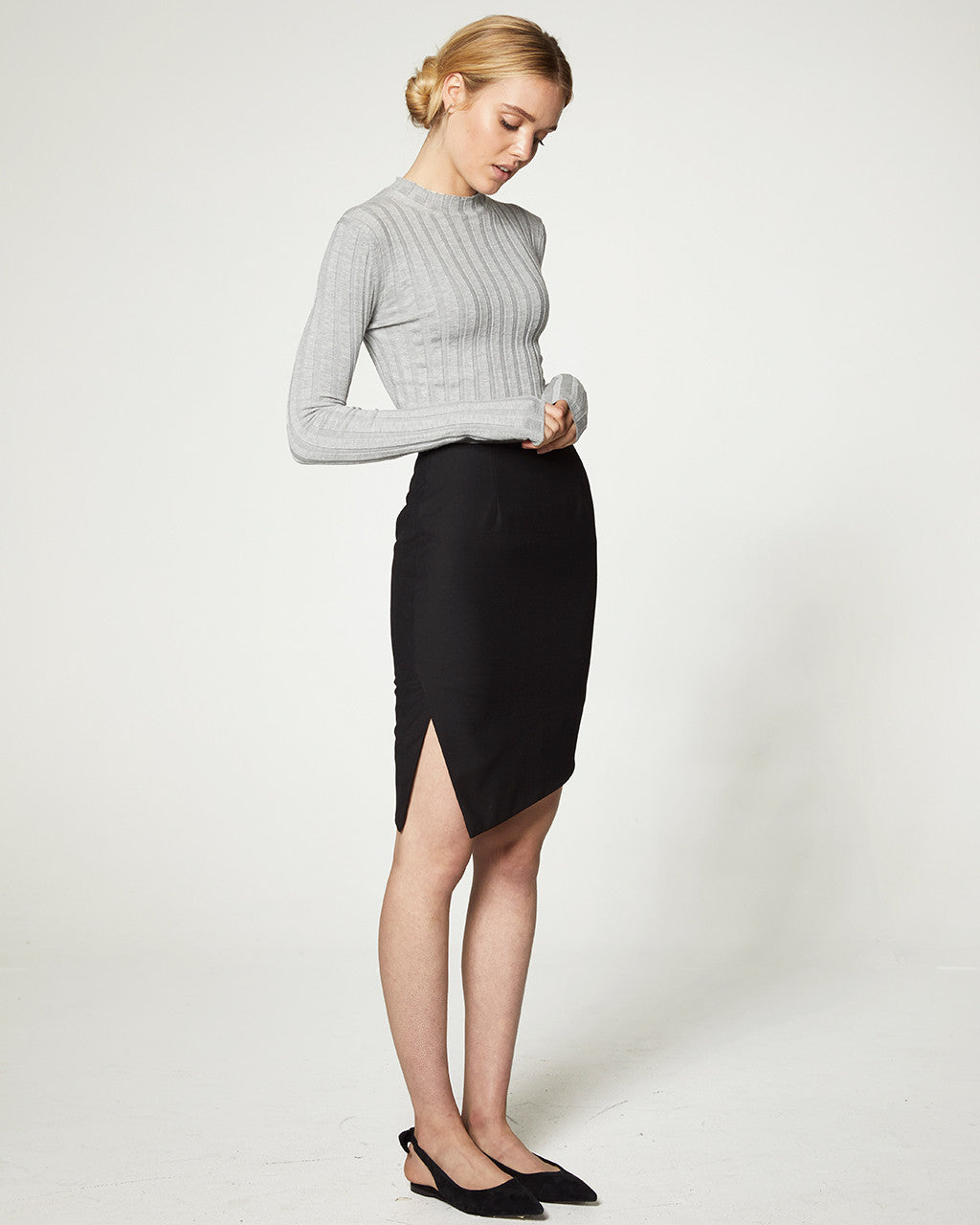 DIAGONAL PENCIL SKIRT - BLACK