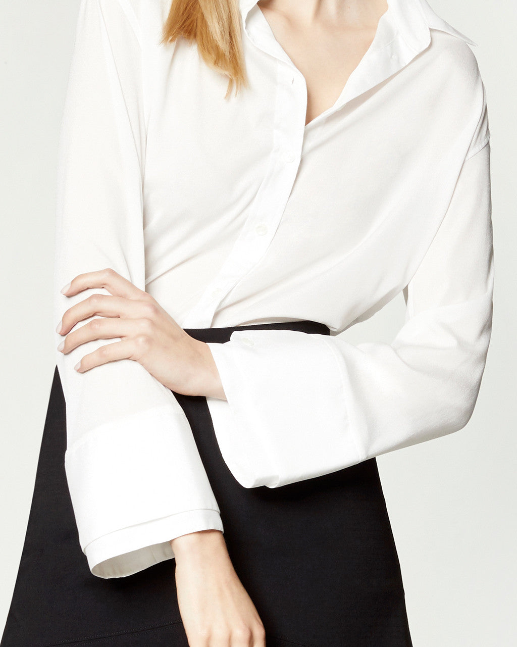 DOUBLE CUFF BLOUSE - WHITE