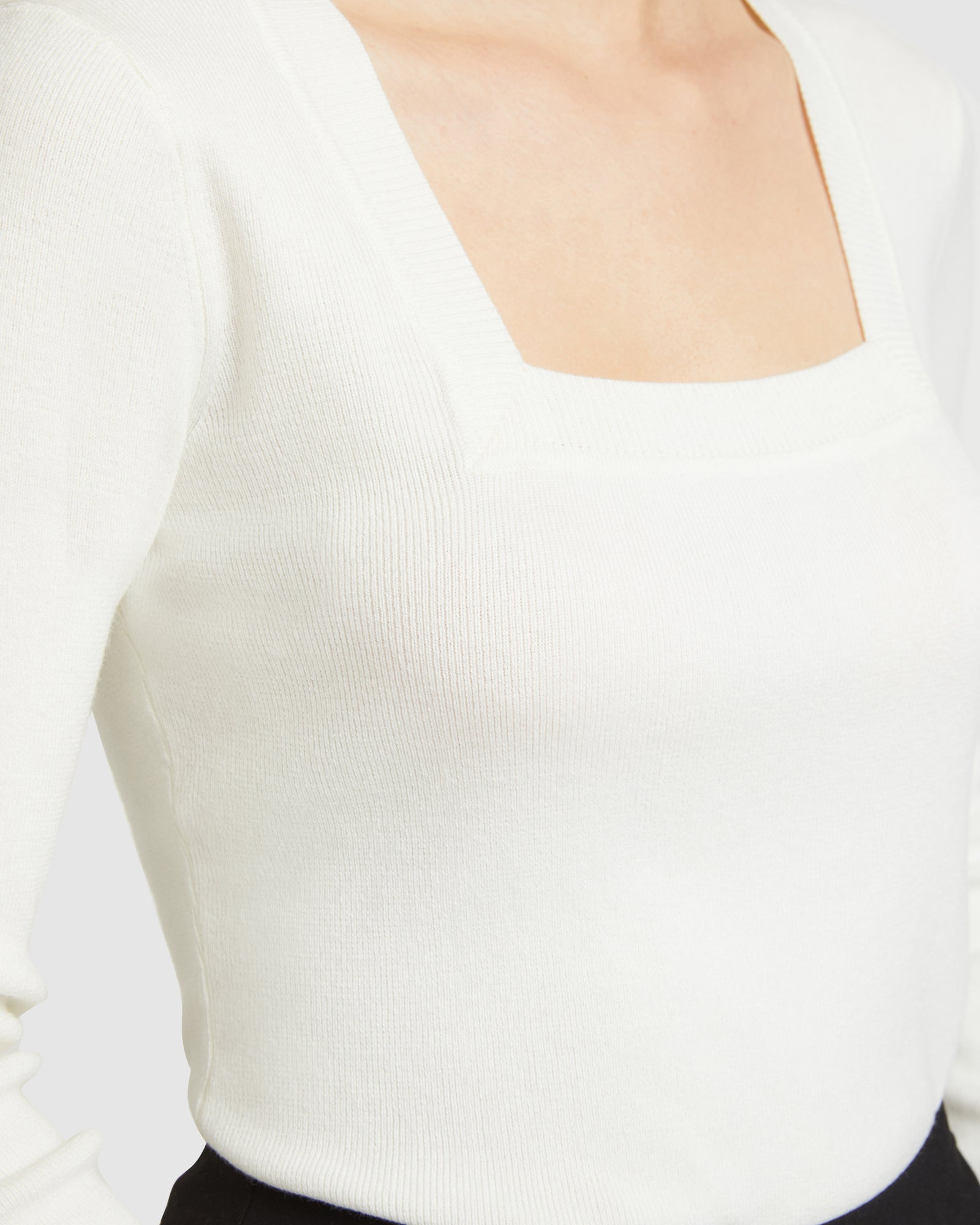 Square Neck Knit Top - White