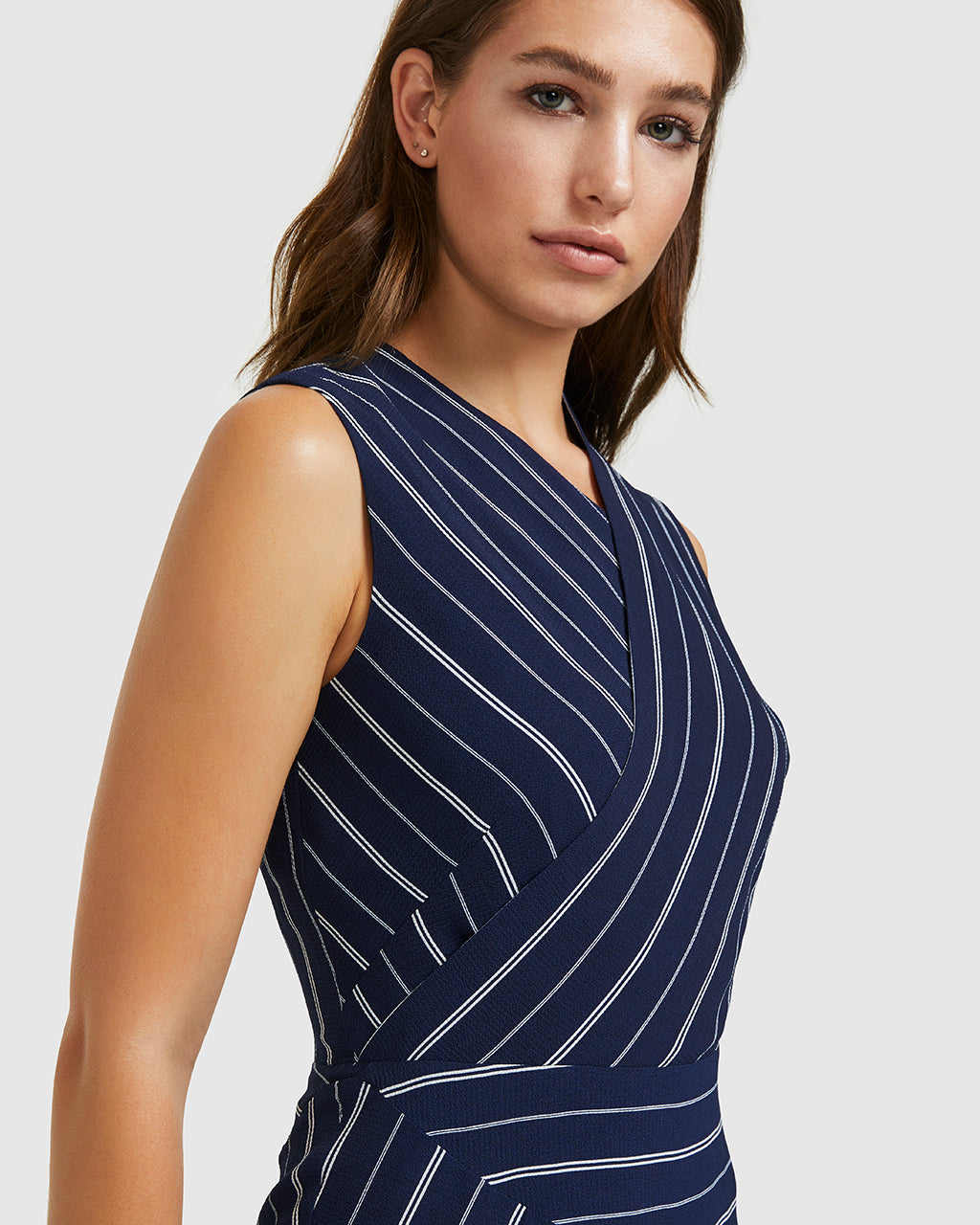 Crepe Stripe Dress - Navy