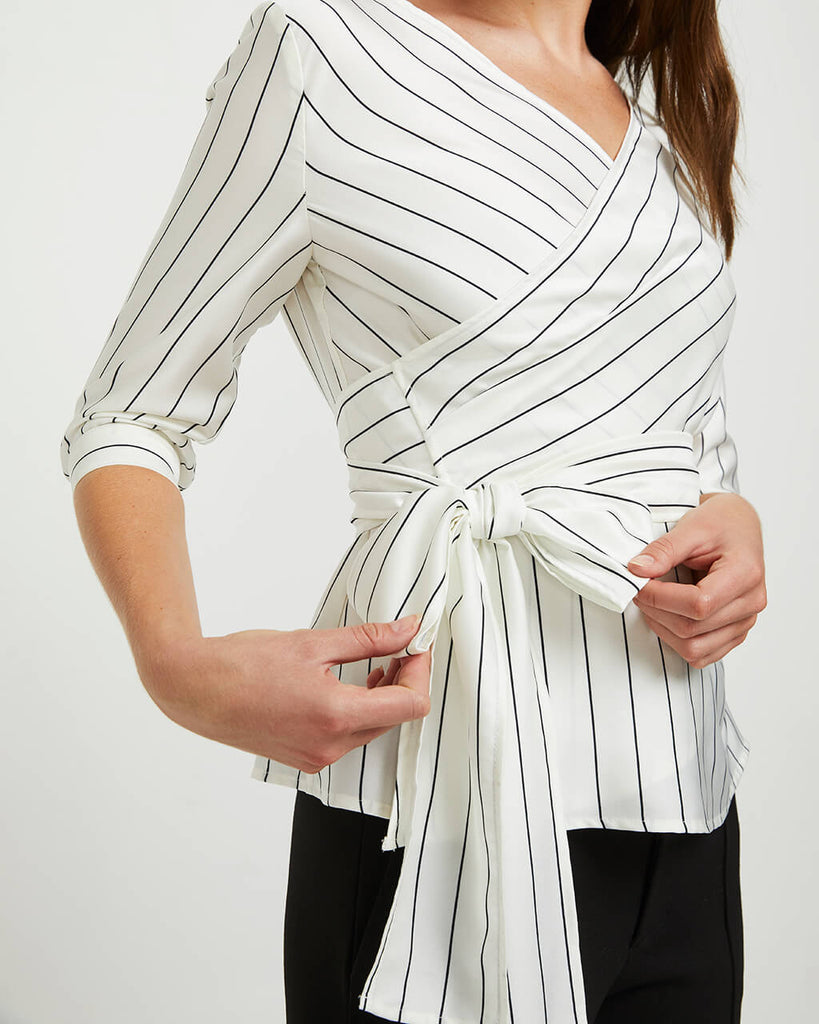 STRIPED WRAP SHIRT - WHITE