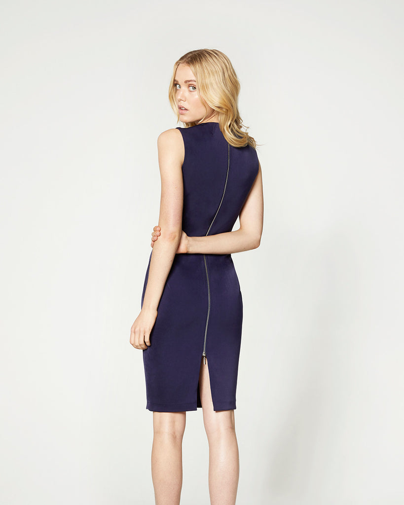 FITTED LONG ZIP DRESS - NAVY - v 2.0