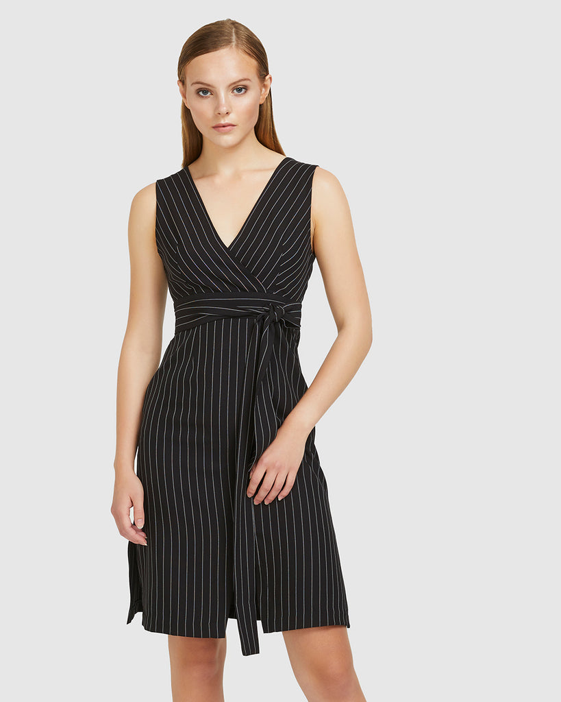 Pinstripe Tie-Belt Dress - Black
