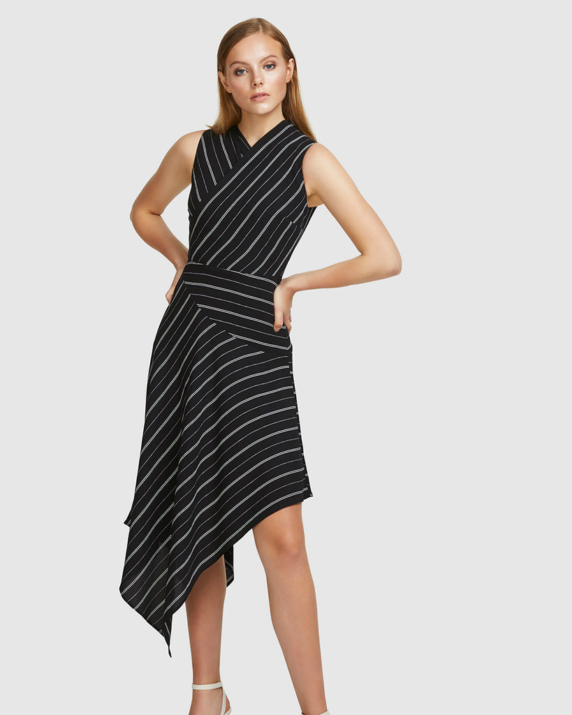 CREPE STRIPE DRESS - BLACK