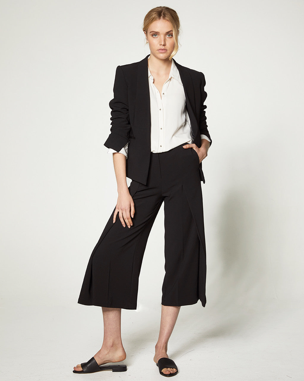 FRONT FOLD CULOTTES - BLACK