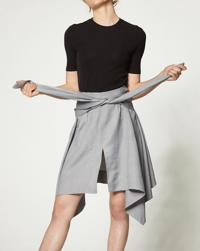 Samples & Seconds - Front Tie Drape Skirt - Grey