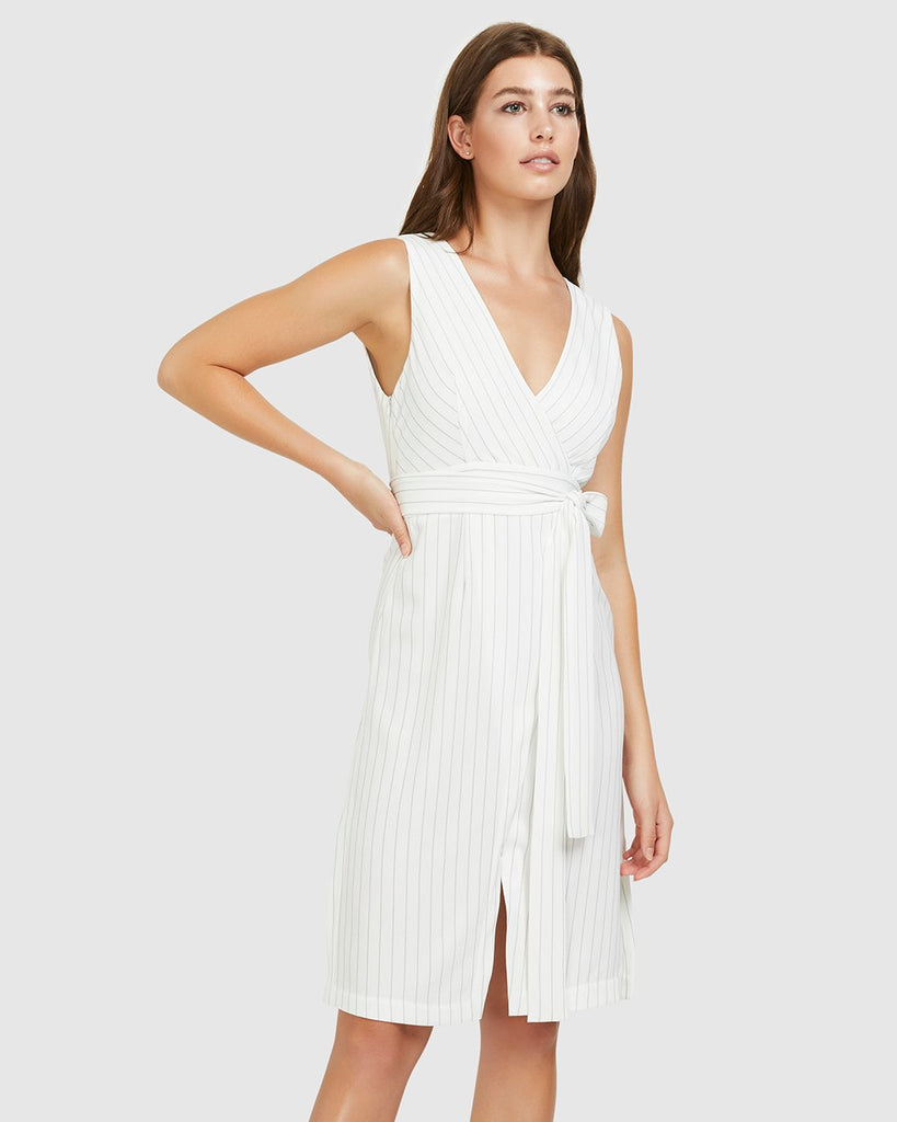 Pinstripe Tie-Belt Dress - White