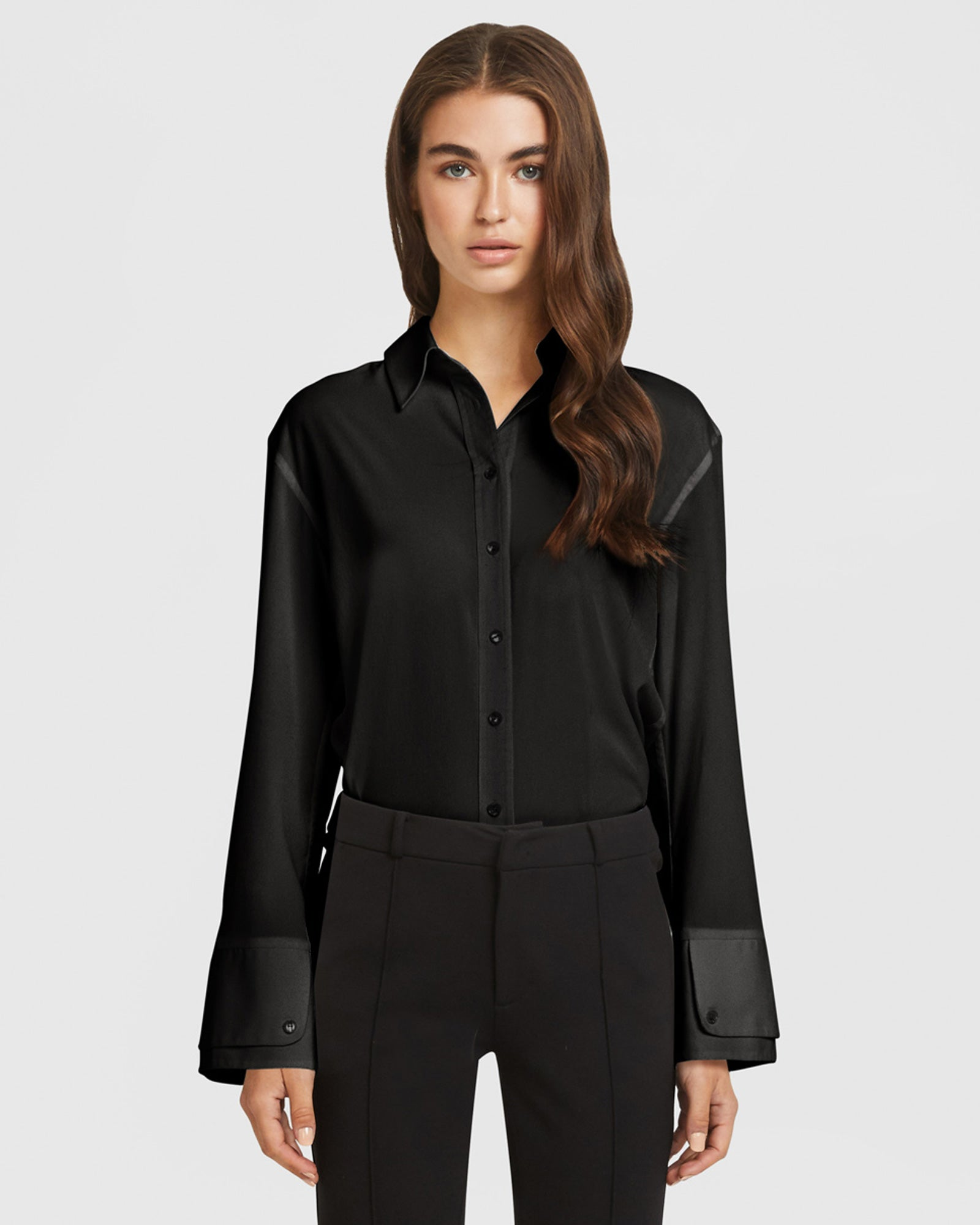 Double Cuff Blouse - Black