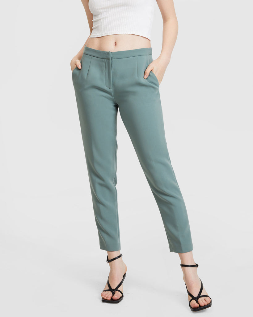 Belted Suit Set - Slim Leg Trousers - Sage