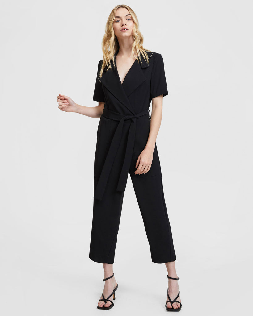 Midsleeve Lapel Jumpsuit - Black