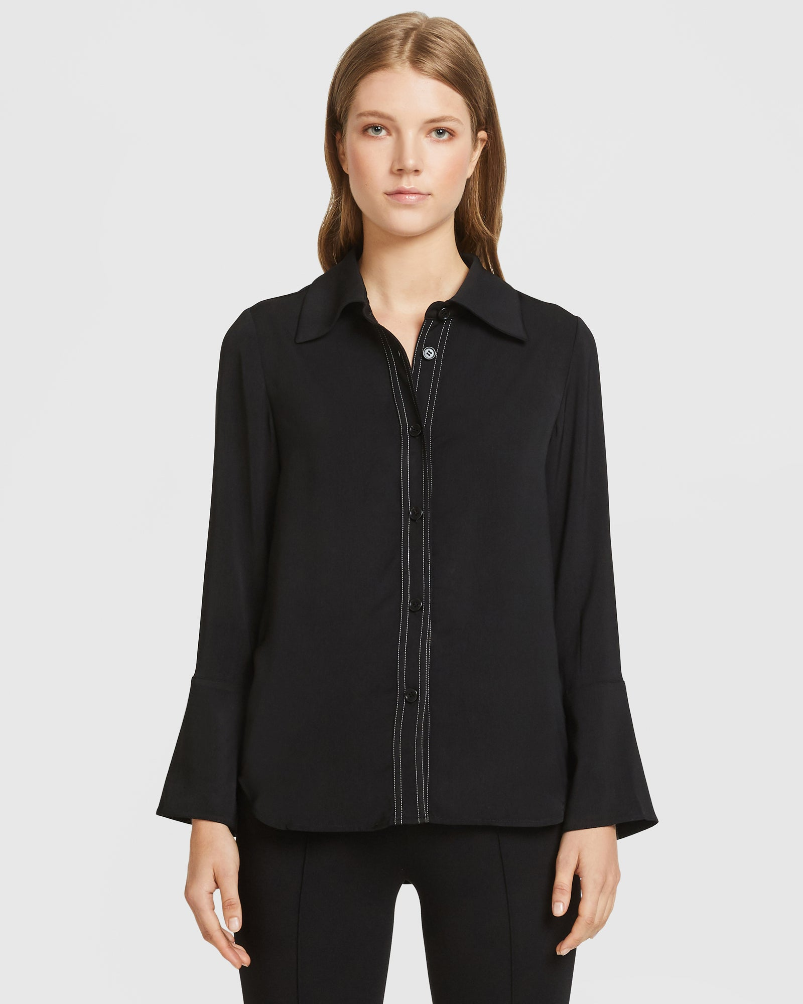Contrast Stitch Shirt - Black