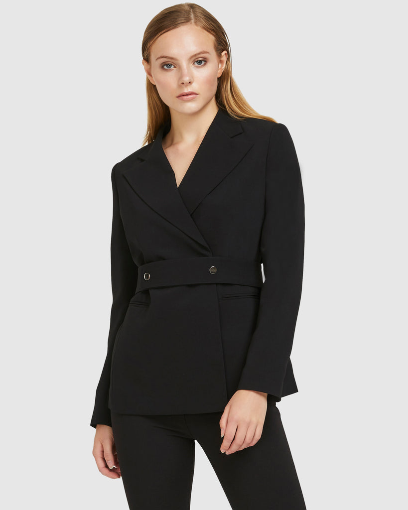 Snap Belt Blazer - Black