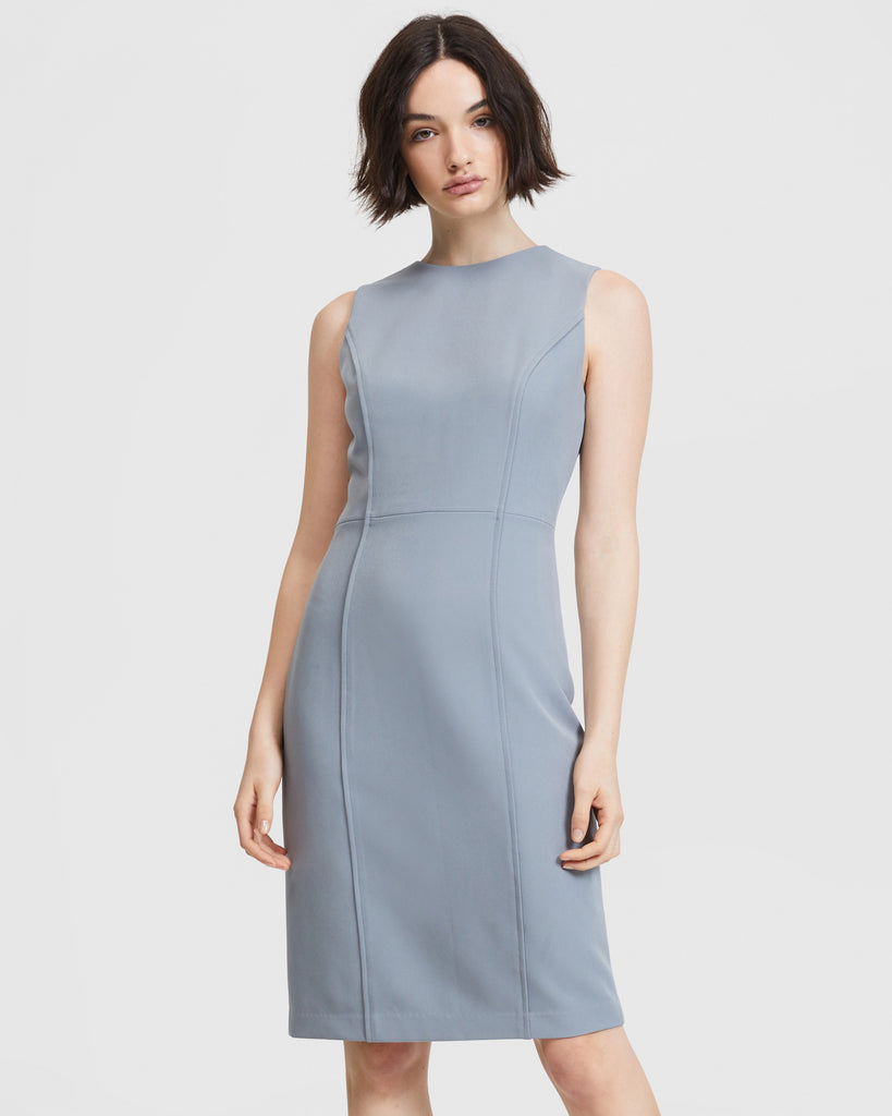 Curved Seam Dress - Pastel Navy Blue