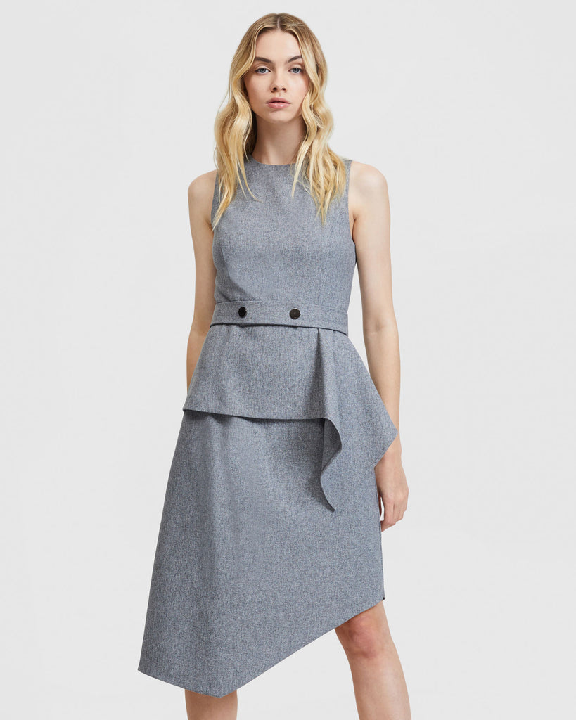 Layered Snap Belt Dress - Static Grey