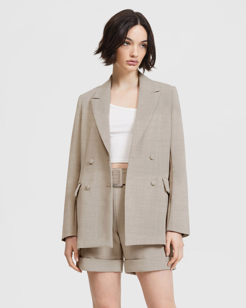 Double Breasted Blazer - Beige