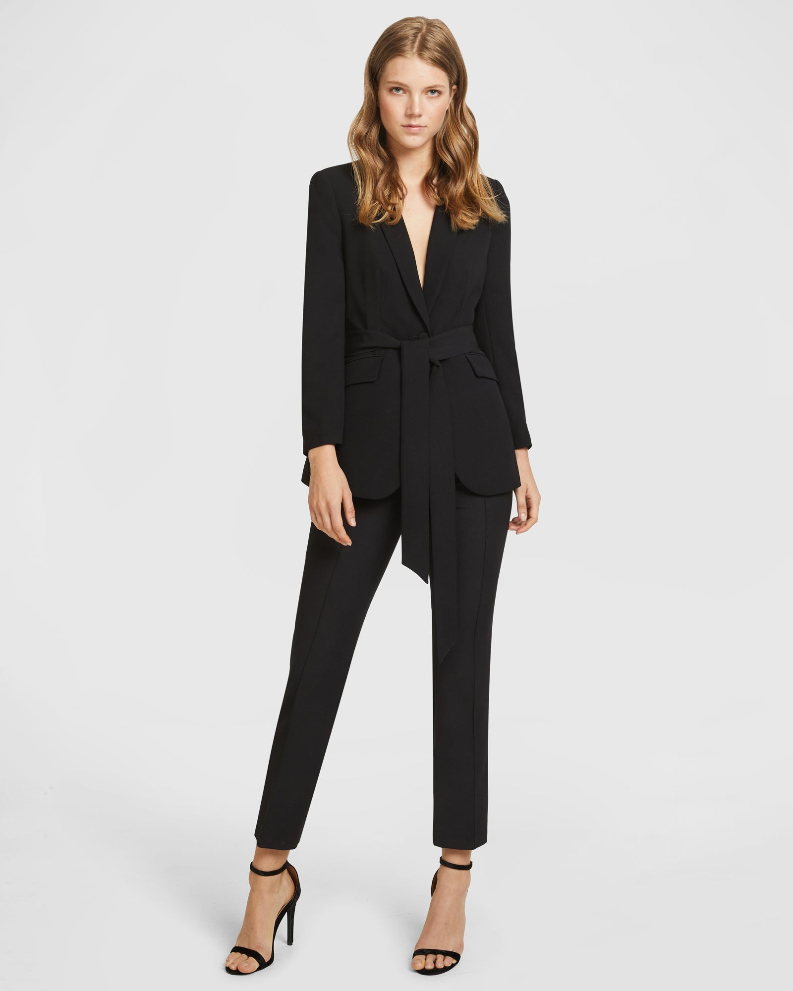 Belted Suit Set - Slim Leg Trousers - Black