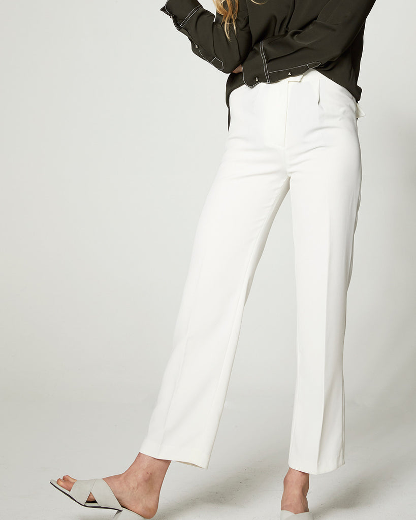 High Waisted Tux Trousers - White