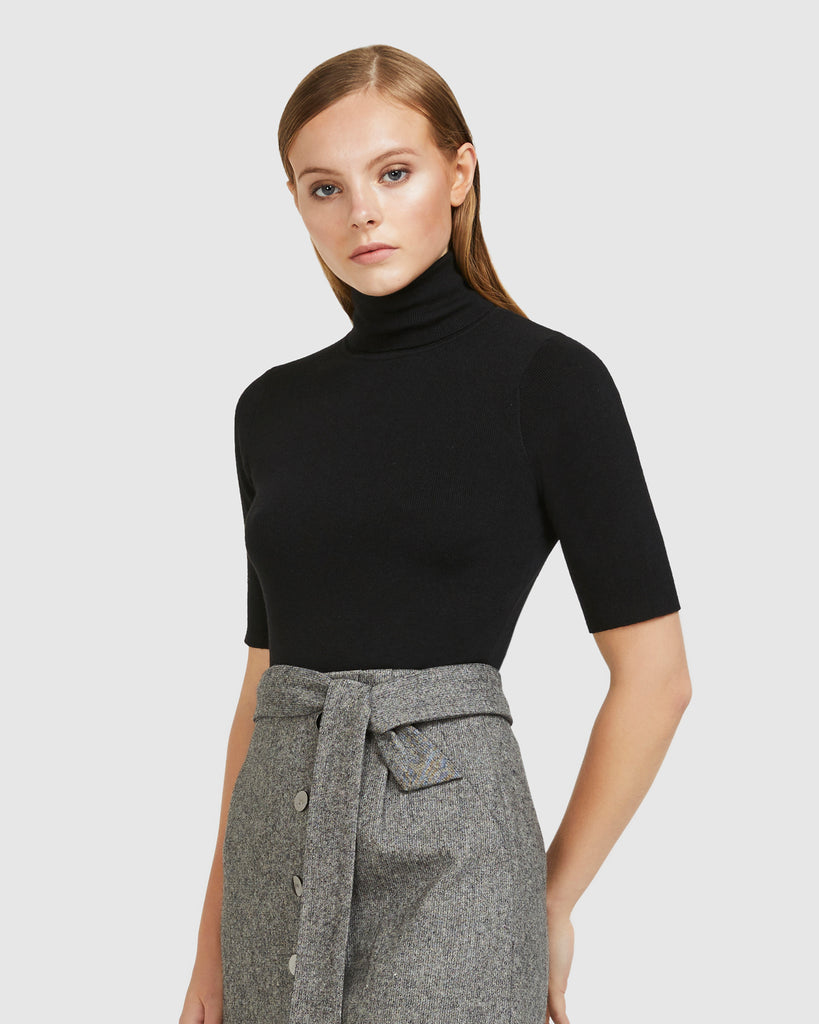 Midsleeve Turtleneck Top - Black
