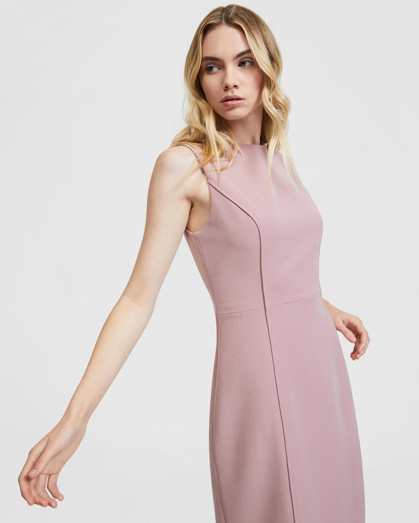 Curved Seam Dress - Mauve