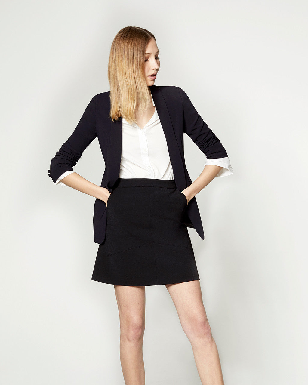 LONG LINE BLAZER - NAVY
