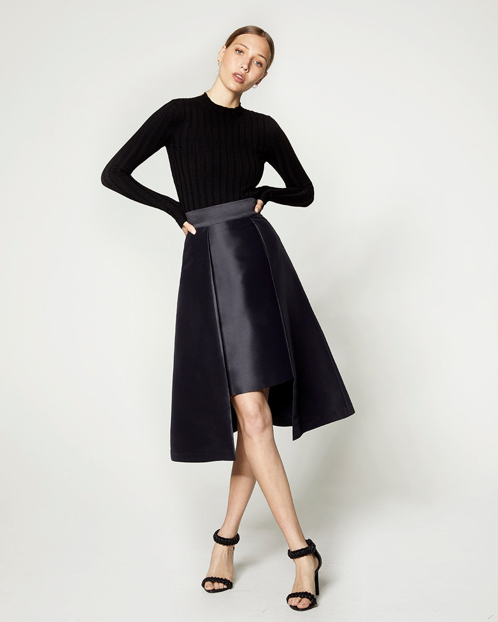 Structured Midi Skirt - Navy