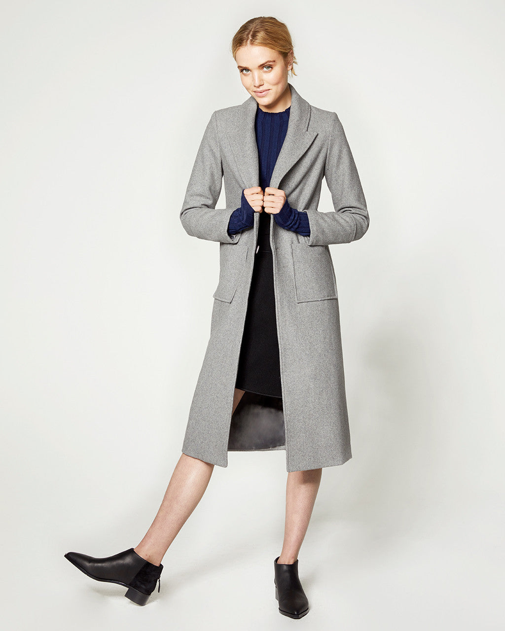 Wool Peak Lapel Coat - Grey
