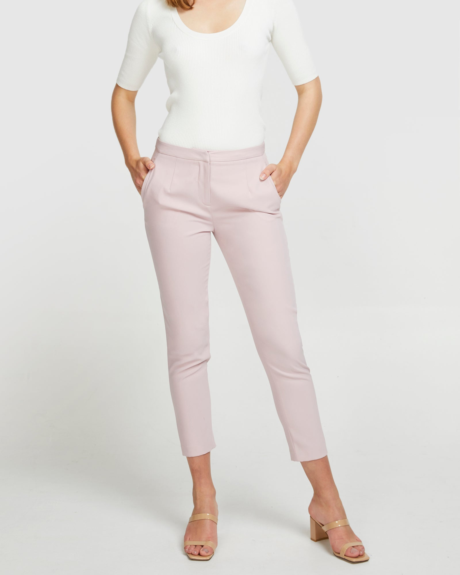 Belted Suit Set - Slim Leg Trousers - Rose Pink