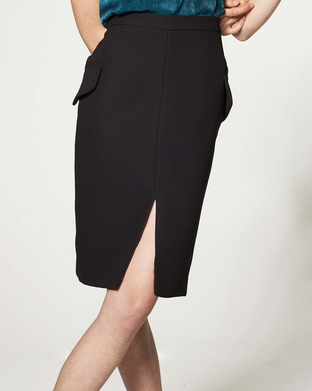 POCKET PENCIL SKIRT - BLACK