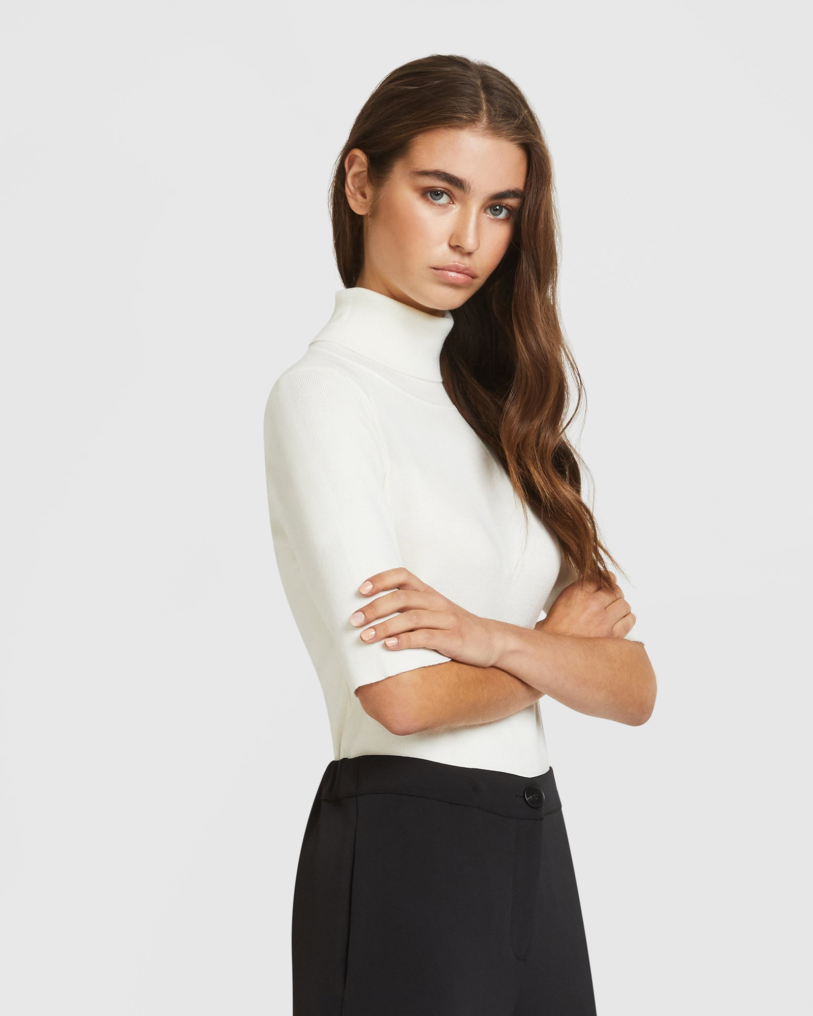 Midsleeve Turtleneck Top - White