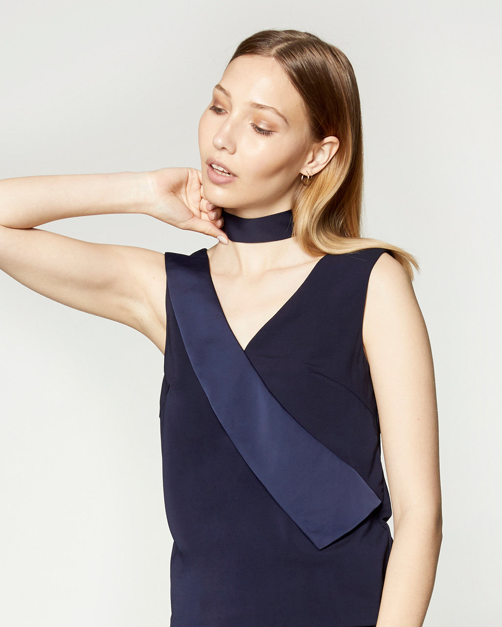 Single Lapel Top - Navy
