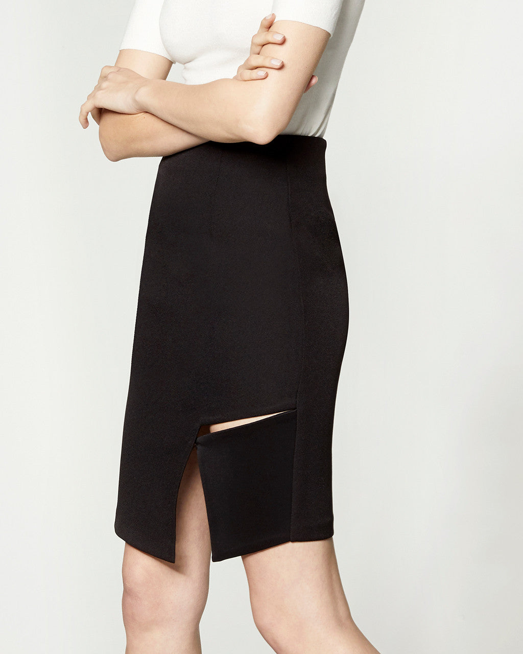 Square Cut-Out Skirt - Black