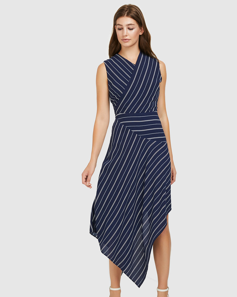 Samples & Seconds - Crepe Stripe Dress - Navy