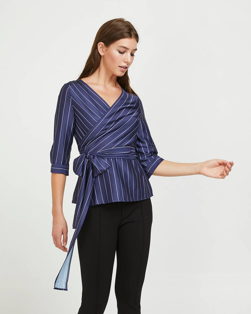 Striped Wrap Shirt - Navy Satin